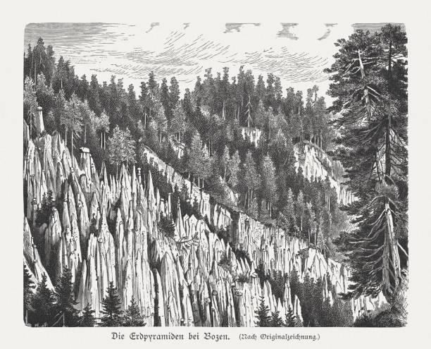 erdpyramiden des ritten, in der nähe von bozen, holzschnitt, veröffentlicht 1897 - aerial view soil germany stock-grafiken, -clipart, -cartoons und -symbole