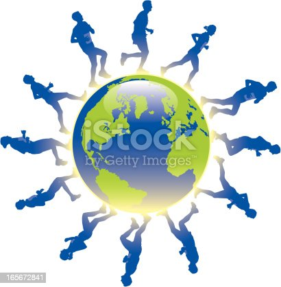 Runners circle the globe.