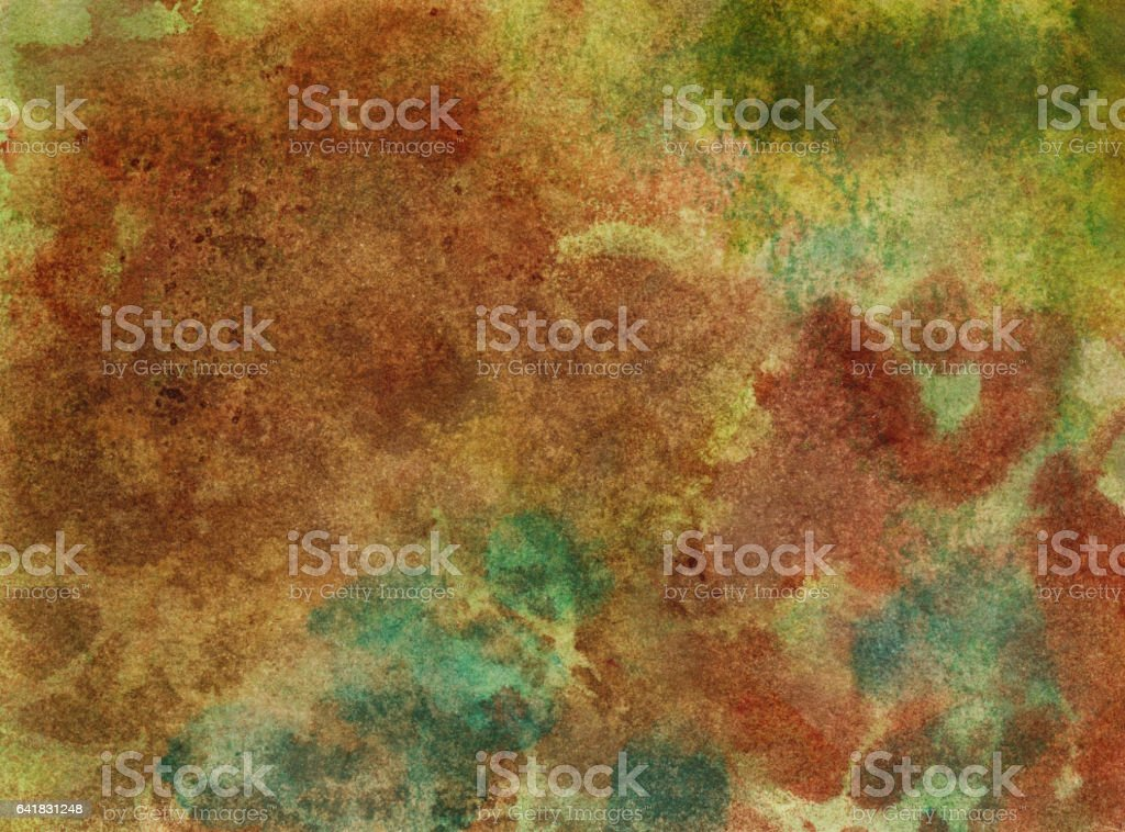 Earth tones hand painted with watercolor and ink vector art illustration
