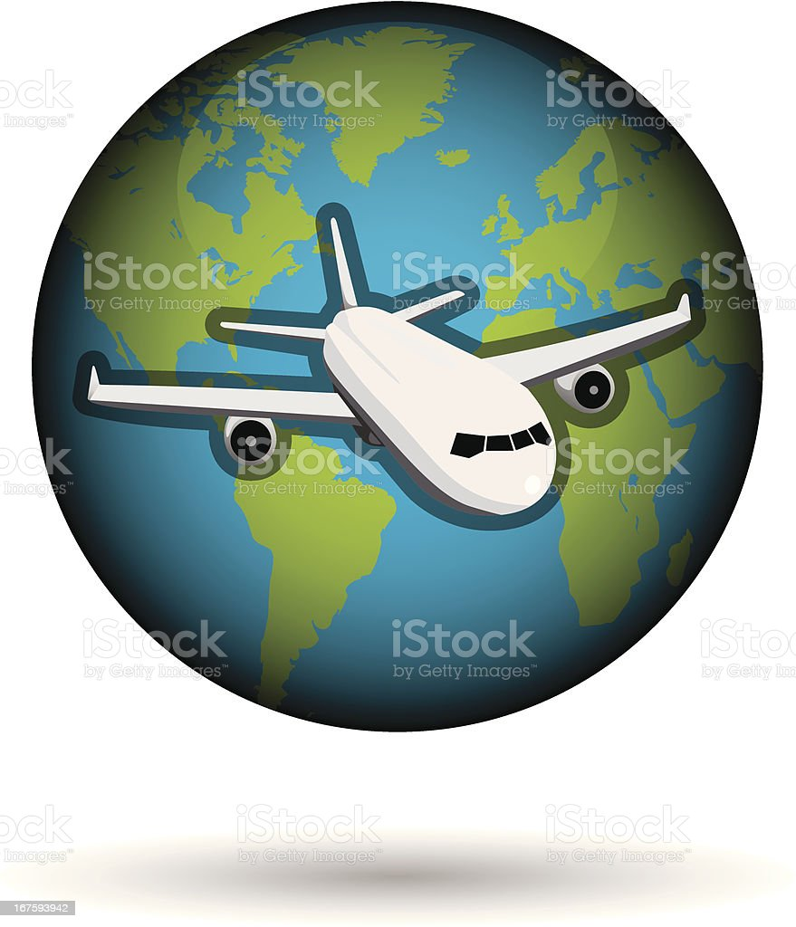 earth with airplane vector art illustration