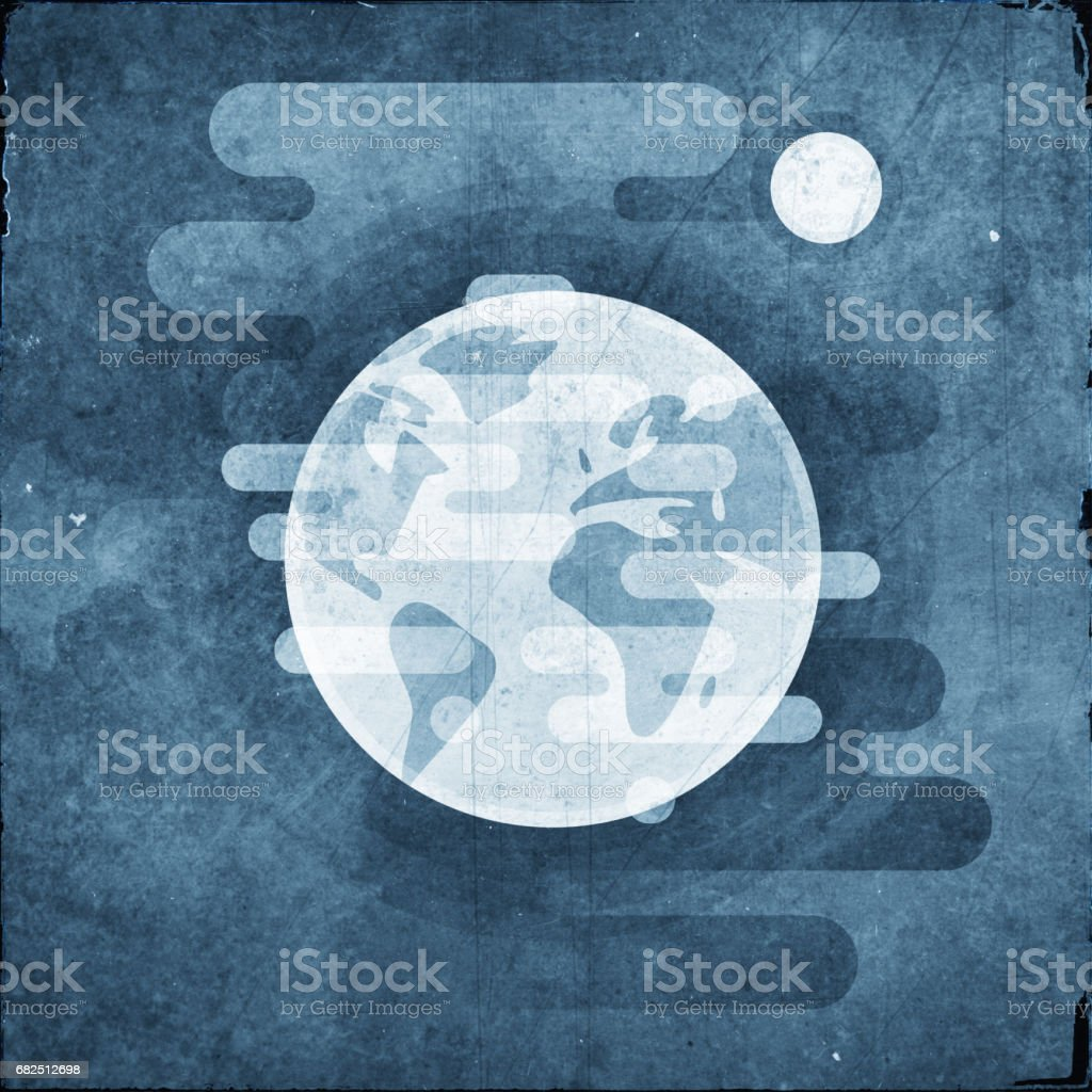 Earth with moon icon - flat textured illustration, space retro elements royalty-free earth with moon icon flat textured illustration space retro elements stock vector art & more images of astronomy