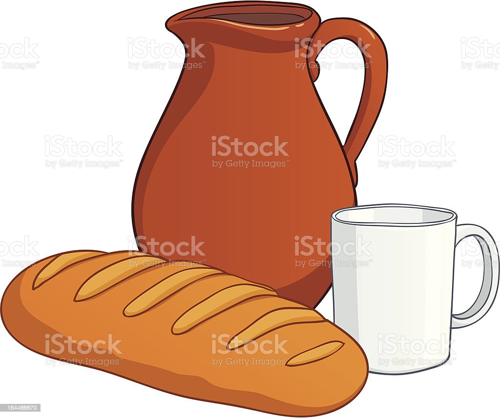 Earthenware with milk and long loaf royalty-free earthenware with milk and long loaf stock vector art & more images of ancient