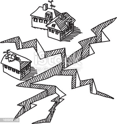 Earthquake Crack Buildings Drawing Stock Vector Art & More