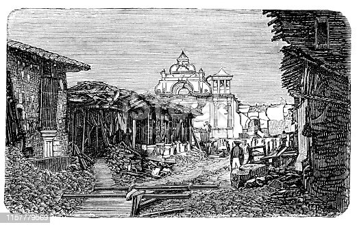 Steel engraving Earthquake in San Salvador 1873 Original edition from my own archives Source :