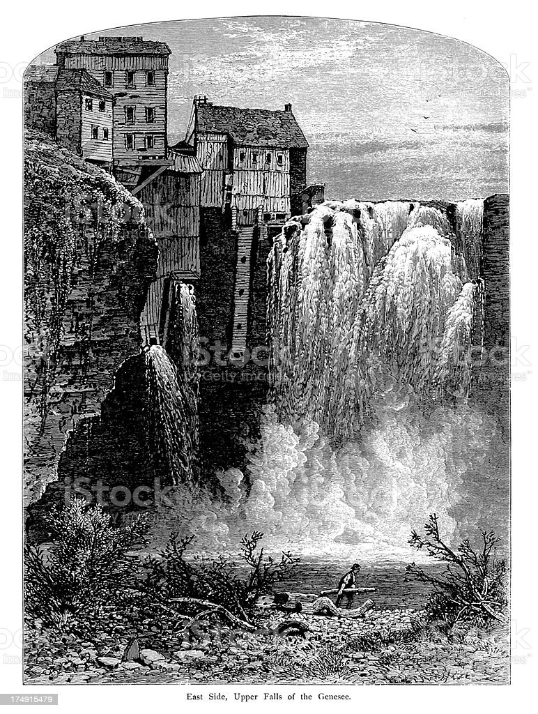 East side of Upper Falls, Portage Canyon, New York royalty-free east side of upper falls portage canyon new york stock vector art & more images of 19th century