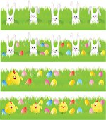 """Easter banners with eggs, bunny and chicken"""
