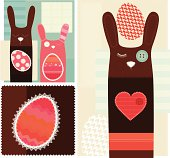 Easter Bunnies and Eggs Patchwork - Domestic and Cute Illustration.