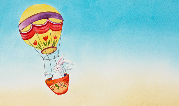 Easter Bunny In Hot Air Balloon vector art illustration