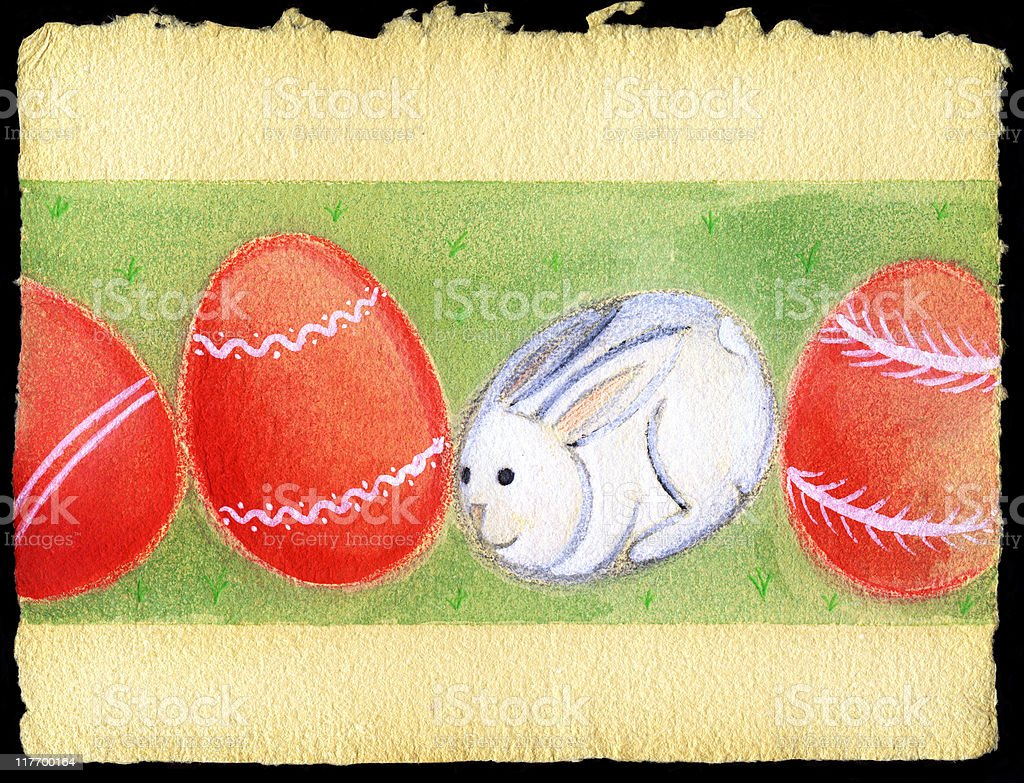 easter bunny with painted eggs royalty-free easter bunny with painted eggs stock vector art & more images of animal