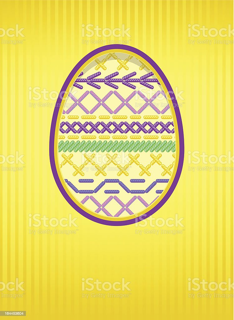 Easter card with egg and embroidery. royalty-free stock vector art