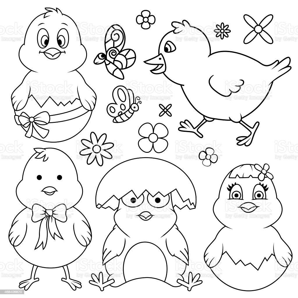 Easter Cartoon Chicken Line Art Set vector art illustration