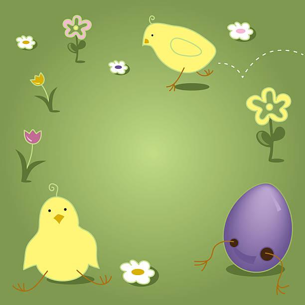Easter Chick Hopping Cracking Out of Egg vector art illustration