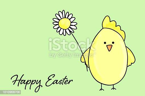 Easter chicken holding flower