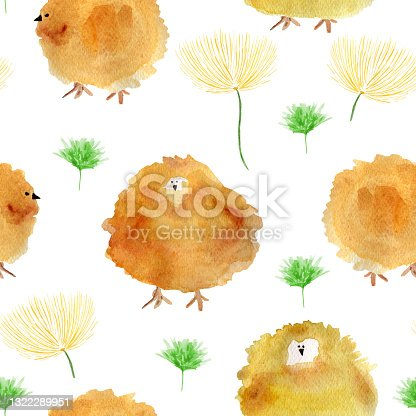 istock Easter chicks watercolor seamless pattern. 1322289951