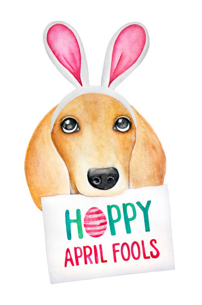 Easter combining with April Fool's Day illustration. vector art illustration