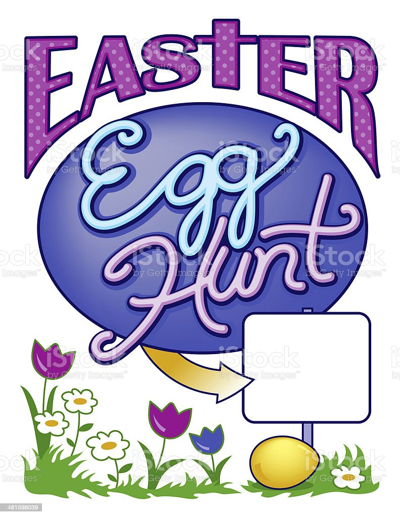 Easter Egg Hunt Sign Page Layout vector art illustration