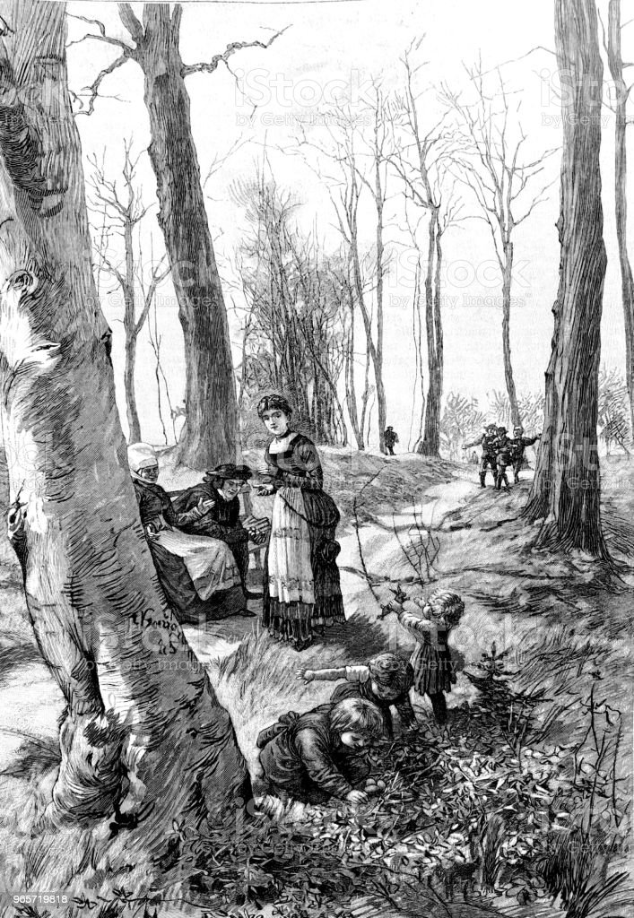 Easter: Egg hunting in the forest - Royalty-free 1890-1899 stock illustration
