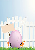 vector illustration of funny easter egg with copy space for your message