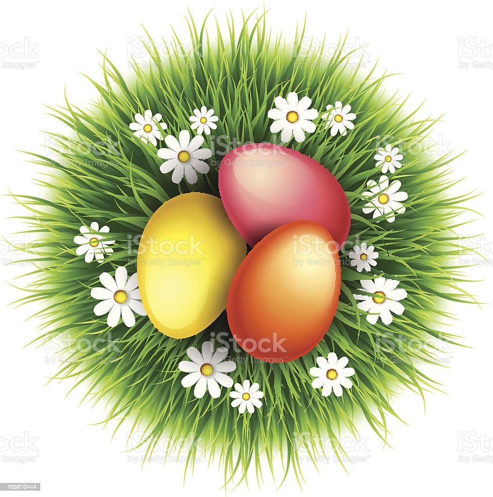 Easter egg on a grass royalty-free stock vector art