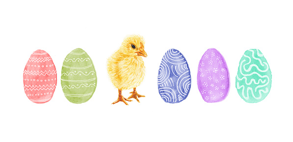 Easter Eggs and Baby Chicken - Original Watercolor Painting
