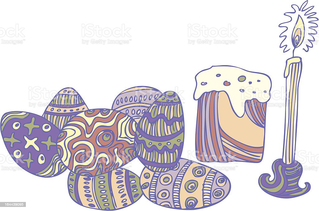 easter eggs and candle royalty-free stock vector art