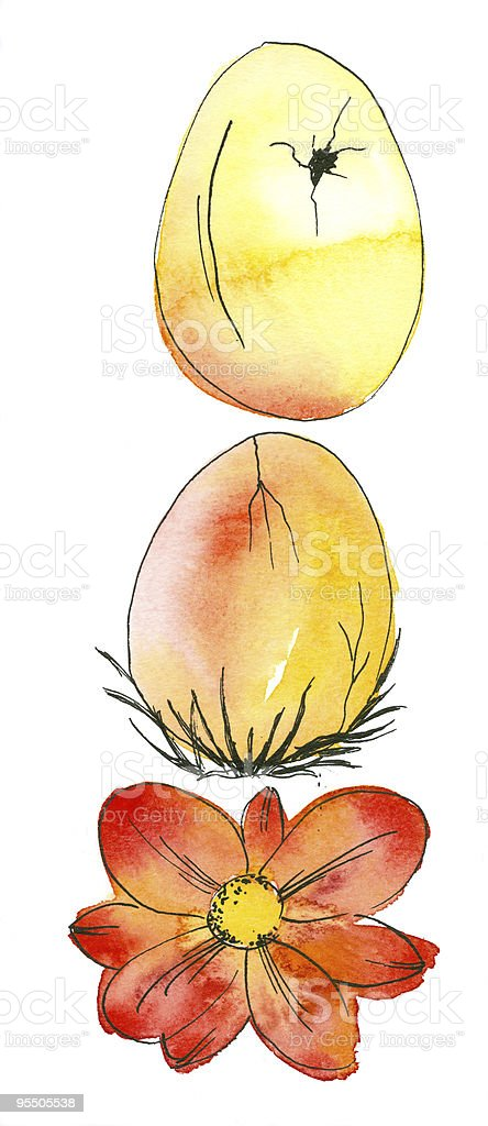 Easter Eggs and Flower royalty-free stock vector art