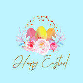 Watercolor composition of had drawn Easter eggs with flowers, leaves and golden drops on light blue background