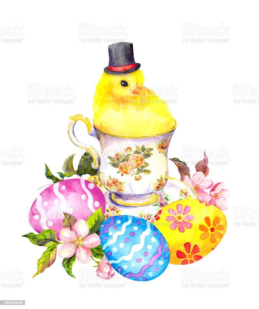 Easter Eggs Cute Small Chicken Animal With Tall Hat In Tea Cup Vintage Teatime