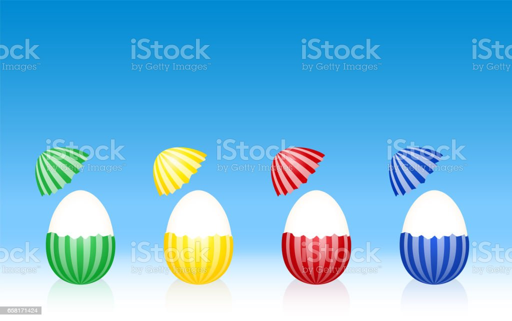 Easter eggs - hard boiled egg white - cracked half peeled shell - striped pattern - four different colors. Three-dimensional vector illustration on gradient blue background. vector art illustration