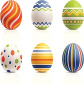 Six hand-painted easter eggs.