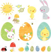"""""""Vector illustration of cute Easter elements. EPS 10 File, some transparencies used. All elements are individually grouped and layered for easy selection and editing. View my portfolio for more Easter images."""""""