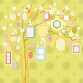 Easter Family Tree. Easter greeting card. Nice family portraits photo frames. Vector.
