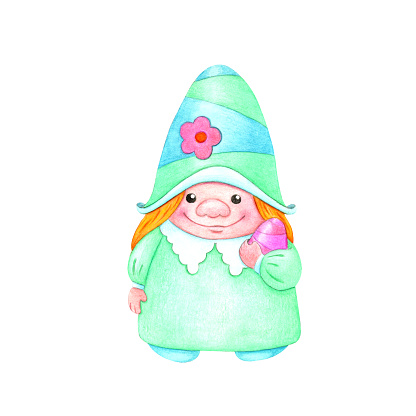 Easter illustration with a gnome.