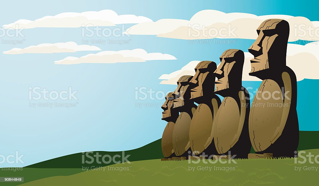 Easter Island Statues royalty-free stock vector art