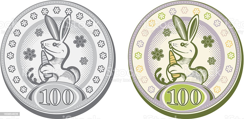 Easter Rabbit Coins royalty-free stock vector art