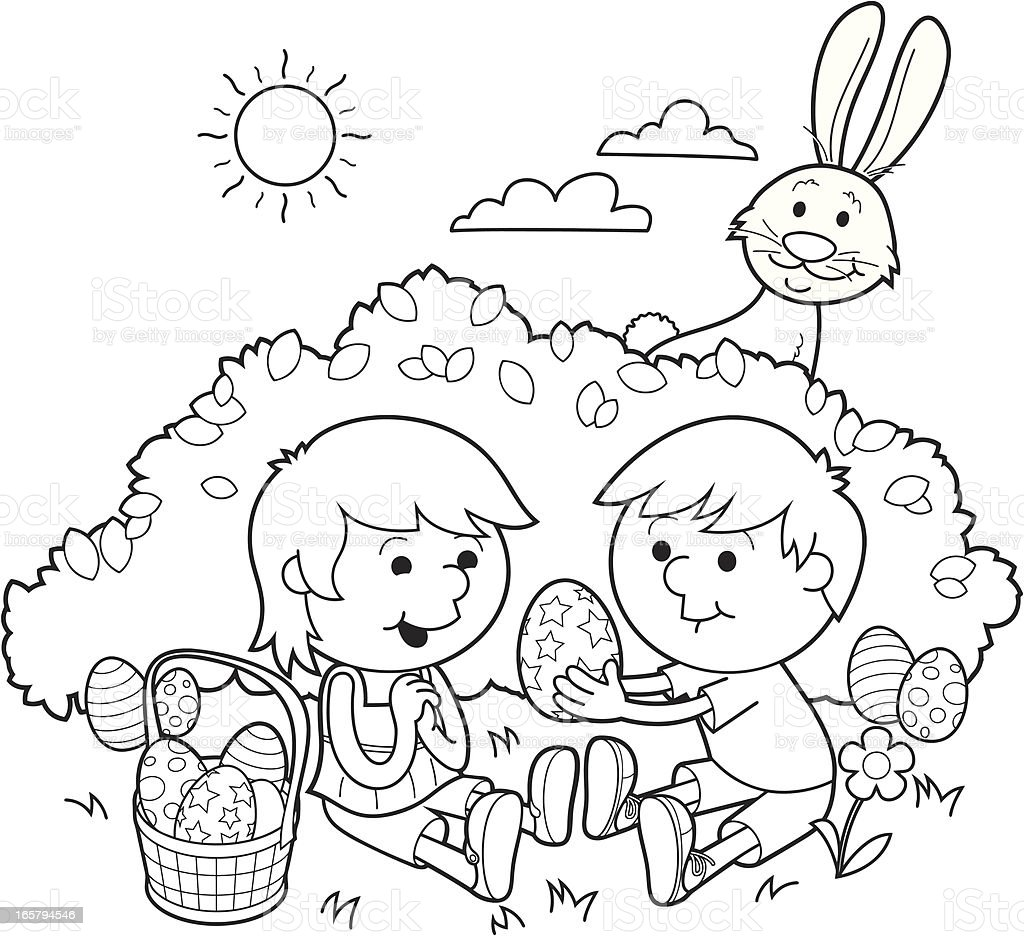 Easter sharing – Coloring in royalty-free stock vector art