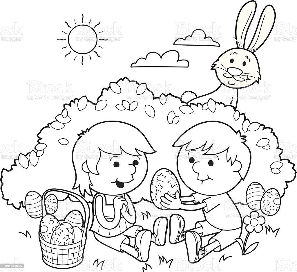 Ilustración de Pascua Compartir Colorear En y más banco de imágenes ...