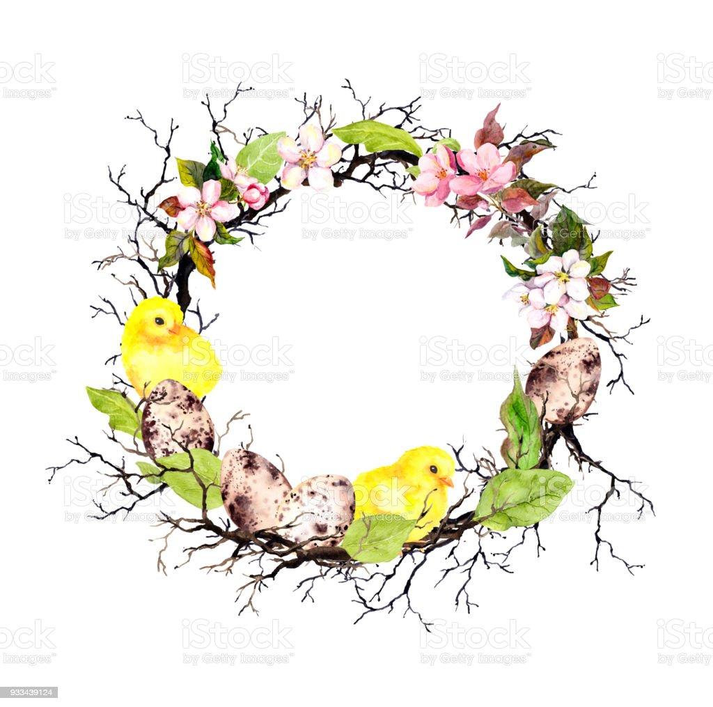 Paskalya Sarı Civciv Yumurta Elma çiçekler Dalları Bahar Yaprakları