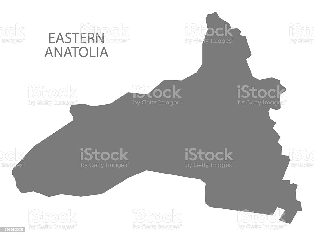 Eastern Anatolia Turkey Map grey vector art illustration