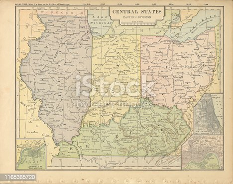Very Rare, Beautifully Illustrated Antique Victorian Engraved Colored Map of Eastern Central States of the United States of America, Published in 1899. Source: Original edition from my own archives. Copyright has expired on this artwork. Digitally restored.