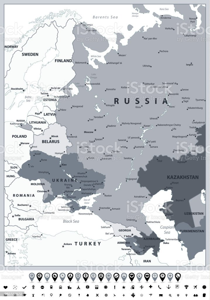 Eastern Europe Political Map Grayscale Spot Colors And Icons Stock ...