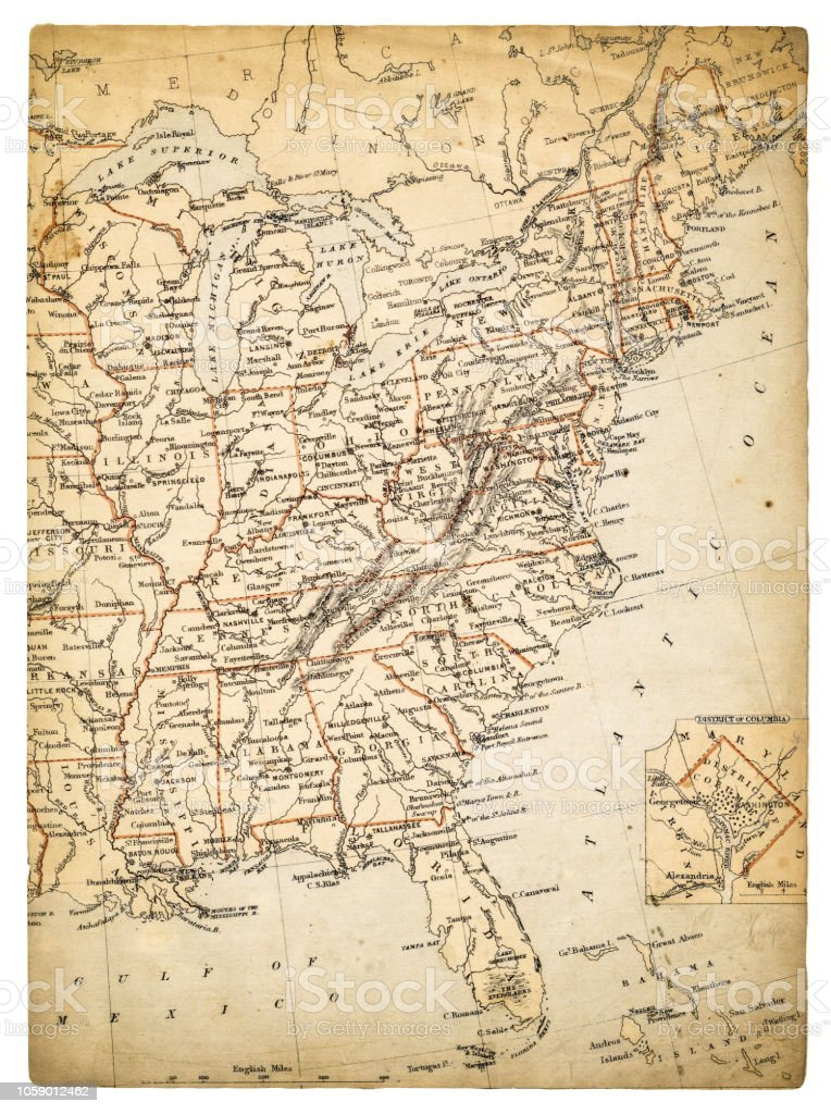 Usa Eastern Sates Map Of 1869 Stock Vector Art More Images Of - Us-map-1869