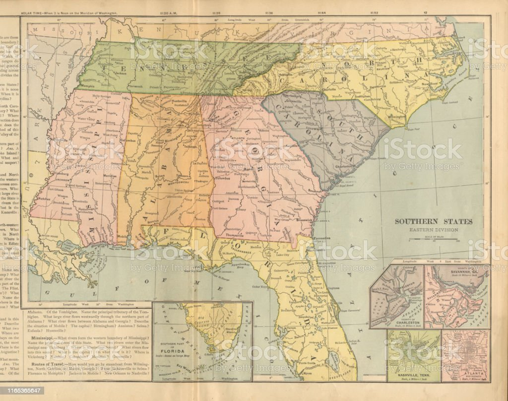 Eastern Southern States Of The United States Of America ...