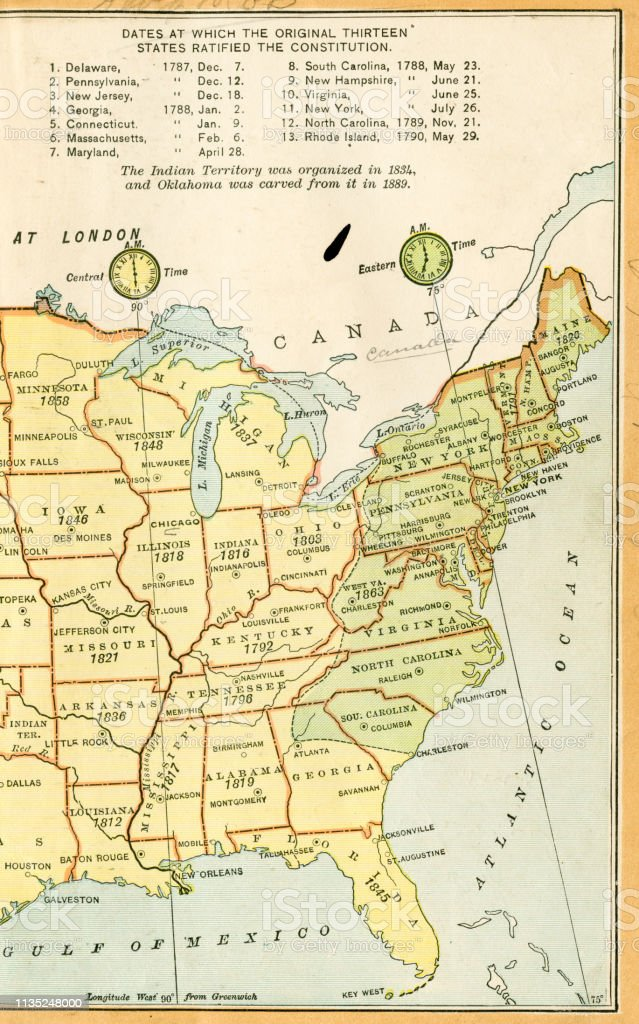 Usa Eastern States Map 1895 Stock Illustration Download Image Now Istock