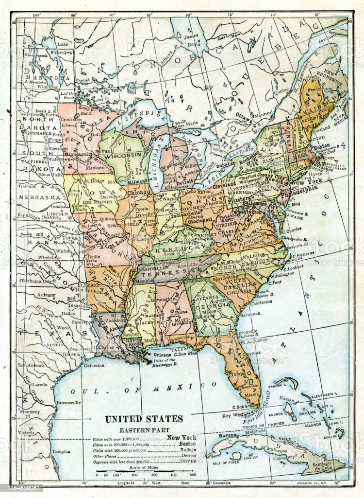 Usa Eastern States Map 1898 Stock Illustration - Download ...