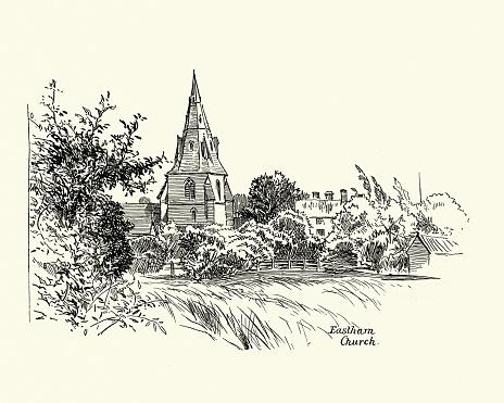 Vintage illustration of Eastham Church, Merseyside, Victorian 1880s, 19th Century