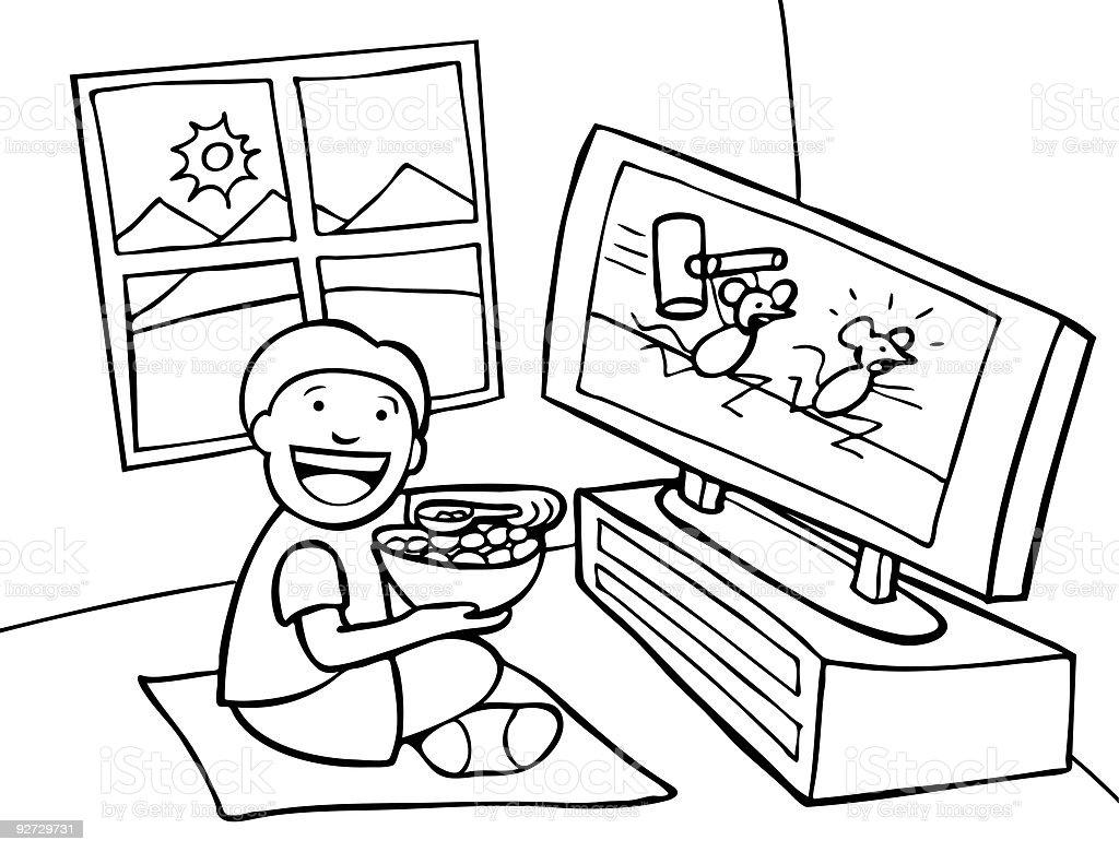 Eating Breakfast vector art illustration