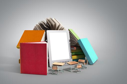 E-book reader Books and tablet 3d render image