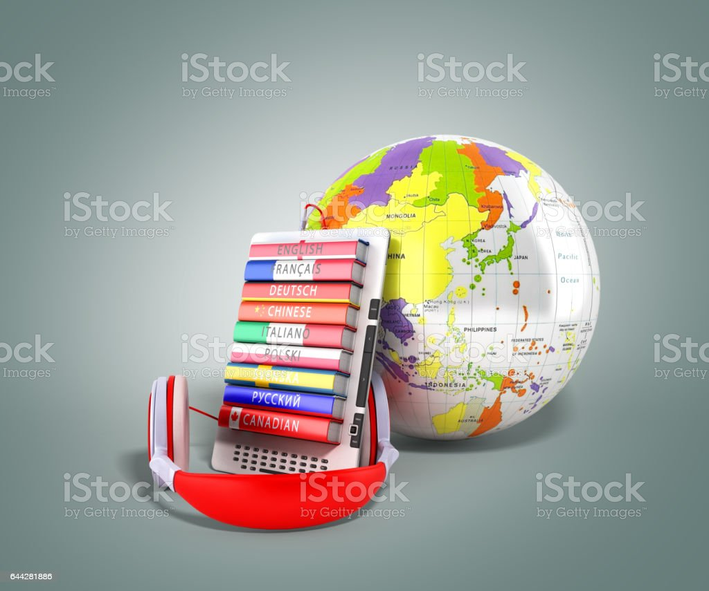 e-book avec audio globe apprentissage langues rendu 3d sur fond gris - Illustration vectorielle