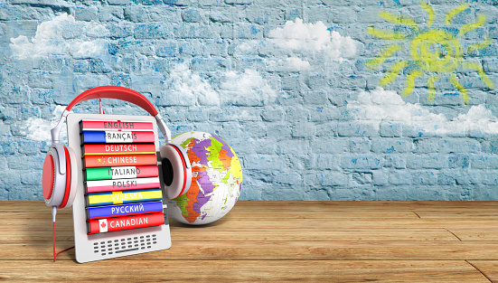 e-book with globe audio learning languages breeck background 3d render